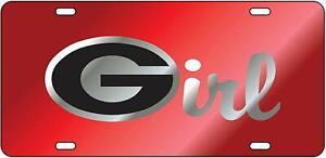 "UGA GEORGIA Bulldogs Red Mirrored ""G Girl"" License Plate / Car Tag"