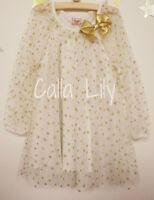 Girls Long-Sleeve Raglan Tulle Gold Star-Print Dress - Ivory - 12M-5