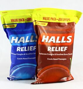 Halls Cough Suppressant/Oral Anesthetic Drops 200ct Menthol/Cherry Free Shipping