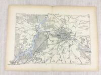 1881 Antik Militär Map Of Berlin Deutschland Spandau Kopenick Charlottenburg