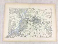 1881 Antik Militär Map Of Berlin Deutschland Spandau Kopenick Charlottenburg