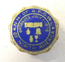 c. 1900 N.H. of A.F.G.W.U. of NORTH AMERICA enamel collar stud GLASS LABOR +