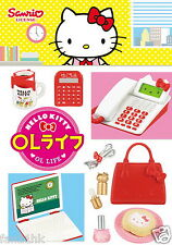 Re-ment Miniature Sanrio Hello Kitty Office Lady OL Life Stationery rement 8 PCS