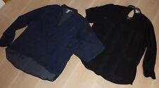 Paket: H&M 2 Blusen schwarz & dunkelblau Gr.46 Gr.XL Oberteil Longsleeve Viskose