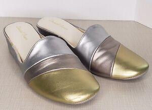 Daniel Green Slides 8.5 Metallic Gold Copper Silver Mules Slippers