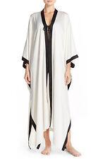 Womens New Designer Natori Long Robe XS NWT White Black Empress Silky Luxury