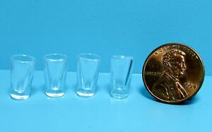 Dollhouse Miniature Plastic Water Drinking Glasses Cups Set of 4 G7267