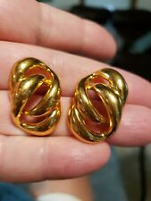 Tone Gorgeous Post Earrings Vintage Signed Napier Bright Gold