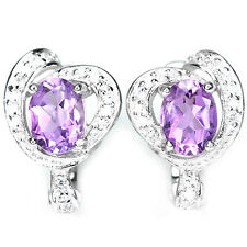 Natural Purple AMETHYST & Cubic Zirconia Sterling 925 Silver Heart EARRINGS