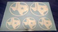 Texas State Star custom vinyl decals stickers, set of 5, many colors available