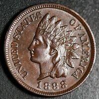 1888 INDIAN HEAD CENT - With LIBERTY & 4 DIAMONDS - AU UNC