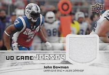 John Bowman Montreal Alouettes 2018 Upper Deck CFL Game Jersey # GJ-JB