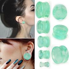 PAIR Organic Green Fluorite Stone Flared Gemstone Saddle Ear Plugs 6G-13/16