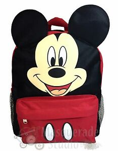 """12"""" Disney Mickey Mouse Black and Red Small School Backpack with Ears"""