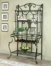 Antique Bronze Bakers Rack with Cast Iron Accents
