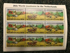 Maldives - 18th World Jamboree Boy Scouts in the Netherlands - Sheet of 9 - MNH