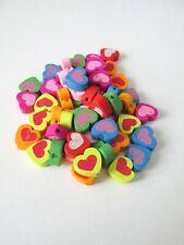50pcs mix colour 14mm wooden heart beads jewellery making craft UK