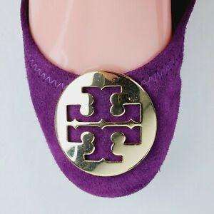 Tory Burch Women's Reva Burgundy Slip On Ballet Flats Gold Logo Sz 7.5M NICE!