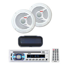 "*KIT* Pyle Marine Audio CD MP3 AM/FM USB Receiver w/2 6.5"" 200W Speakers/Cover"
