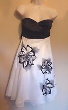 Jane Norman UK10 EU38 US6 black/white satin/net dress with sequin detail