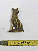 Brass sitting dog small figurine ornament / paperweight