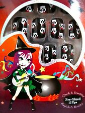 adoro HOCUS POCUS Pre-Glued Press On HALLOWEEN NAIL TIPS Set~Skulls/Red Bow *NIB