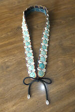 Hand Made Turquoise Beads & Sea Shells Tie Belt
