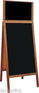 WOODEN BLACKBOARD CHALK BOARD A-BOARD PAVEMENT SIGN NEW XL SIZE WITh HEADER