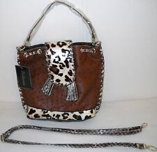 Bellerose OSTRICH Pattern CROSSBODY PURSE Shoulder Bag with Extra CLUTCH Handle