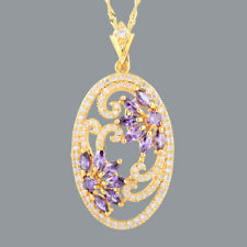 New Cubic Zirconia 18K Yellow Gp Purple Amethyst Marquise Pendant Free Chain