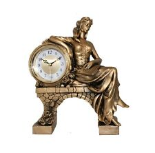 Large Silver Mantel Clock Lady Big Home Office Decor Watch Gift Vintage