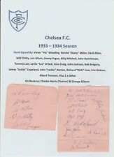 CHELSEA 1933-1934 SEASON EXTREMELY RARE ORIG HAND SIGNED 2 PAGES X 21 SIGNATURES