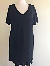 """S.L. FASHION  Plus Size 24W Black S/S Lined Tier  """"Little Black Dress"""""""