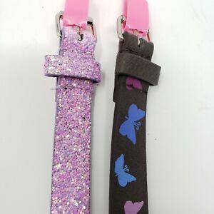 Lot of 2 Girls Belts Brown Butterfly Purple Glitter Medium Large New