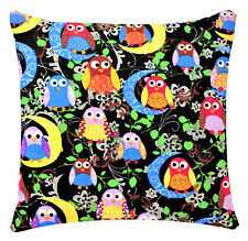 Black Multi Coloured Owl Animal Print 17 x 17 inch Cushion Cover for Sofa Bed