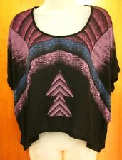 FOREVER 21 junior med blouse Southwest Steampunk rayon goth shirt spandex
