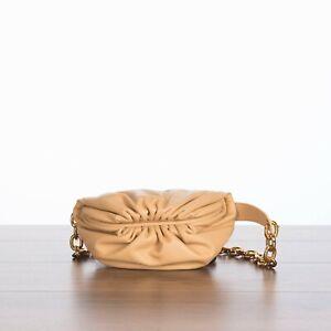 BOTTEGA VENETA 2160$ The Belt Chain Pouch In Almond Calfskin Leather