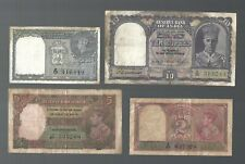 India  ✨ 1, 2, 5 & 10  Rupees 4 pcs KGVI banknote ✨ Collections & Lots #6449