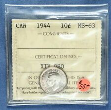 Canada - 1944 Silver Dime - Graded MS-63 by ICCS