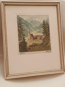 LUDWIG BURGEL Signed Painting On Silk - Mountains & Village Scene (B4)