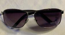 Rectangular Pilot Style Sunglasses Silver Wire Frames Gray Lenses 100% UV
