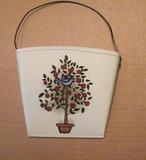 country kitchen Metal floral APPLE TREE  bluebird WALL POCKET apples decor sign