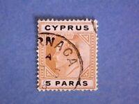 Cyprus. 1908 KEVII 5pa Bistre & Black. SG60. Wmk Mult Crown CA. P14. Used.