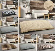 Large Floor Cushion Animal Print Pet Bed Soft Cosy Fur Multi Purpose Suede Cream