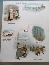 BELLE CHROMOLITHOGRAPHIE 1880 SUÈDE FINLANDE RUSSIE HELSINGFORS TRAINEAU