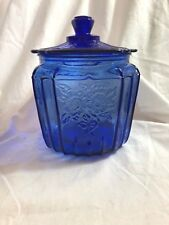 Mayfair Cobalt Blue Open Rose Cookie or Biscuit Jar
