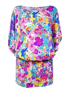 Anne Cole Women's Smocked Floral-Print Doodle Dress Swim Cover-Up