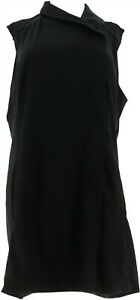 Lisa Rinna Collection Knit Vest Asymmetric Zip Front Black XS NEW A268105
