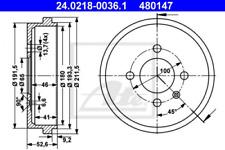 2x Bremstrommel für Bremsanlage Hinterachse ATE 24.0218-0036.1