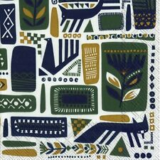 20 Per Package 3 ply 33 cm Square Caspari Alhambra by Isabelle de Borchgrave Turquoise Paper Luncheon Napkins
